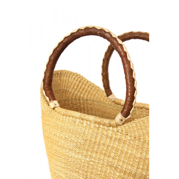 Natural Ghanaian Wing Shopper with Brown Leather Handles