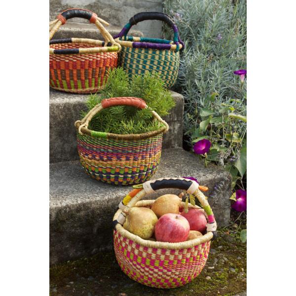 Handmade Bolga Basket small - Vivid