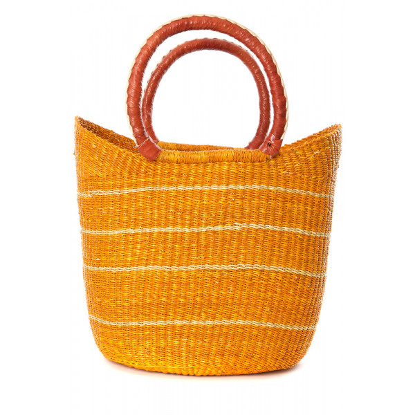 Papaya Pinstripe Bolga Shopper with Leather Handle...