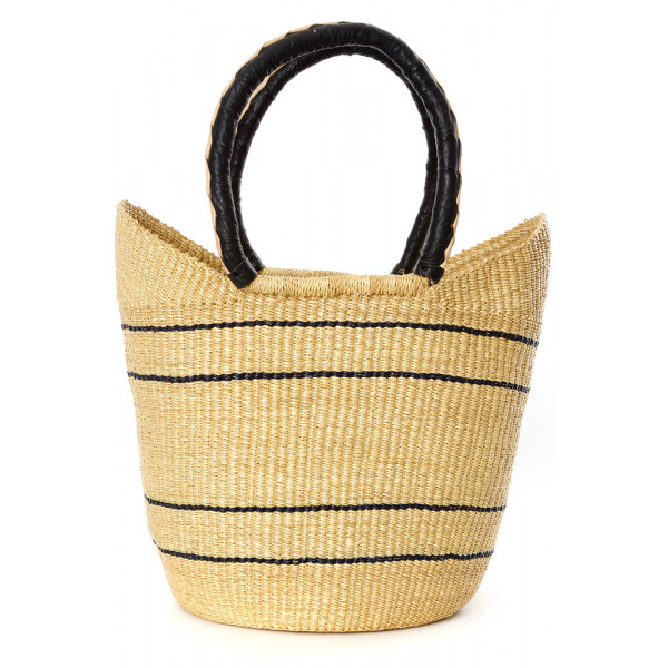 Natural Pinstripe Bolga Shopper with Leather Handl...