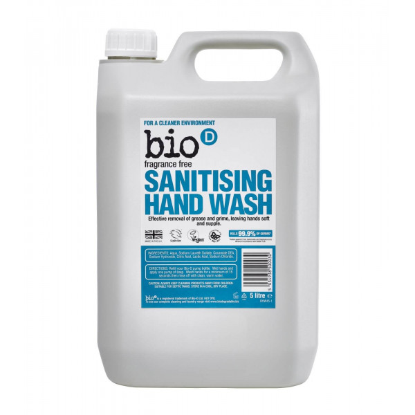 Bio-D Sanitising Hand Wash, Fragrance Free 5l