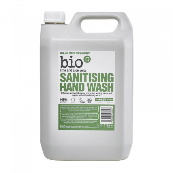 Bio-D Sanitising Hand Wash, Lime and Aloe Vera 5l