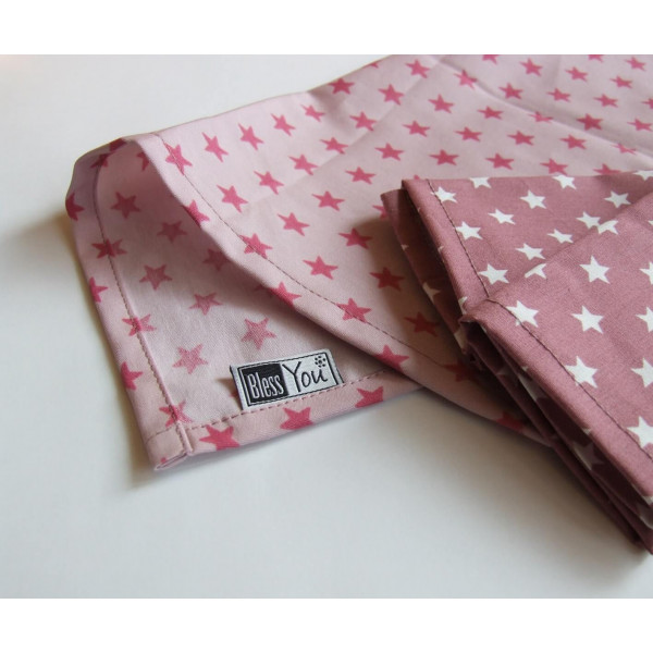 Handkerchiefs mauve stars Bless you, size S, 3 pcs