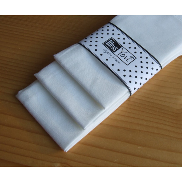 Handkerchiefs white Bless you, size S, 3 pcs