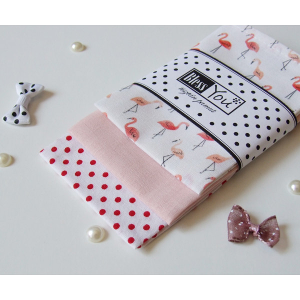Handkerchiefs flamingos Bless you, size S, 3 pcs