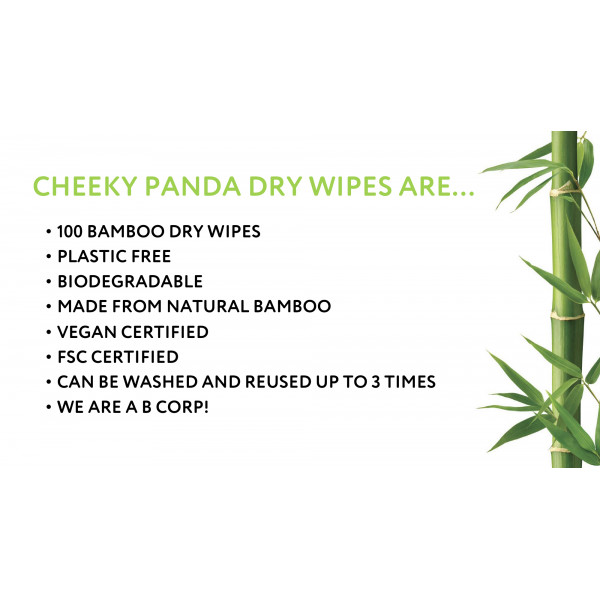 Plastic free bamboo dry wipes 100 pcs / roll
