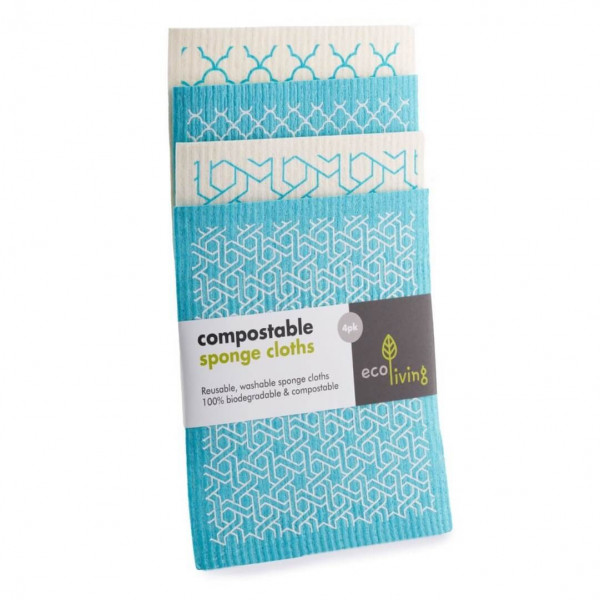EcoLiving Compostable Sponge Cleaning Cloths with Moroccan print