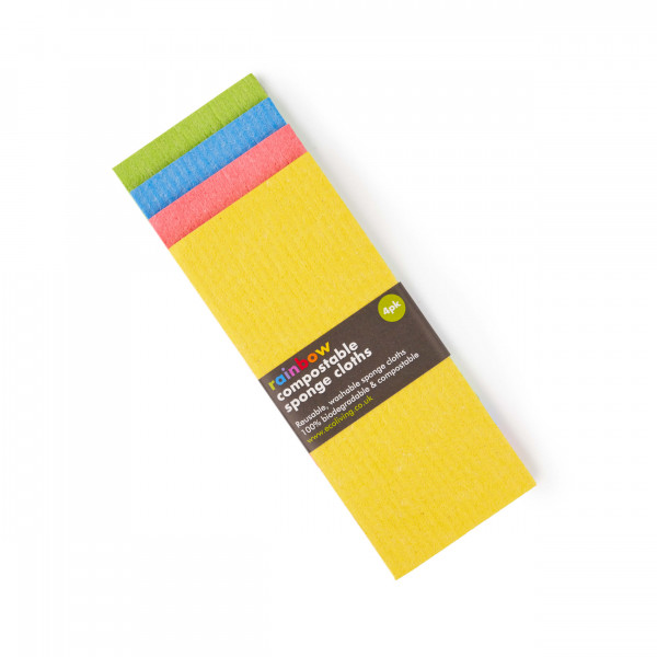 Compostable Sponge Cleaning Cloths - Rainbow set of 4