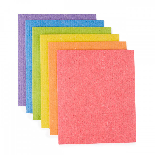 Compostable Sponge Cleaning Cloths - Rainbow set of 6