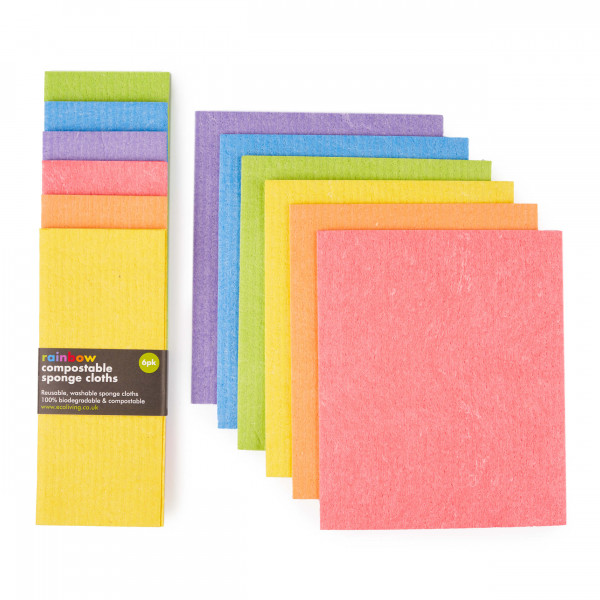Compostable Sponge Cleaning Cloths - Rainbow set o...