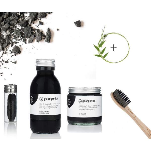Activated Charcoal Oral care pack with beech toothbrush