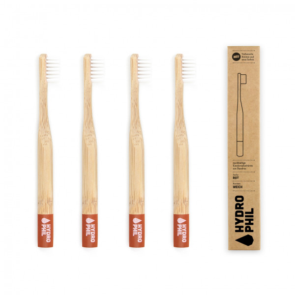 Sustainable toothbrush for kids - red extra soft 1pc