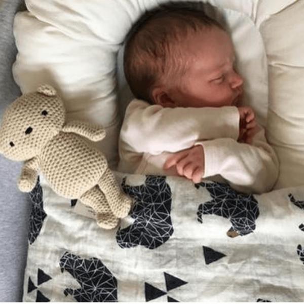 Mama Siesta organikus, muszlin takaró, medve