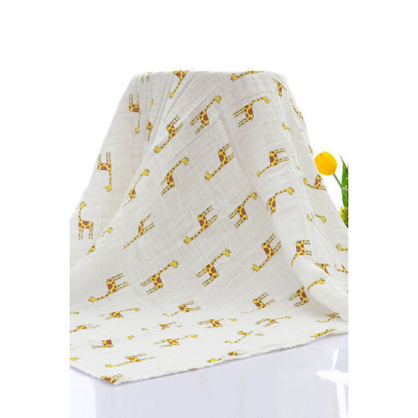 Organic cotton muslin swaddle blanket, giraffe