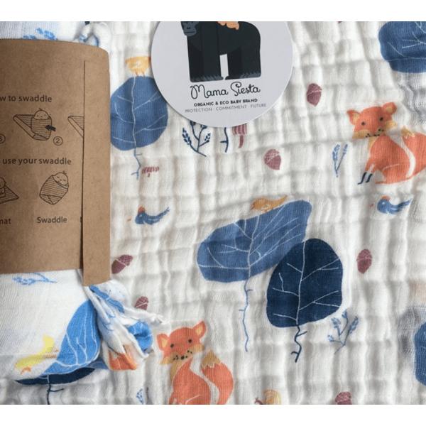 Organic cotton muslin swaddle blanket – fox