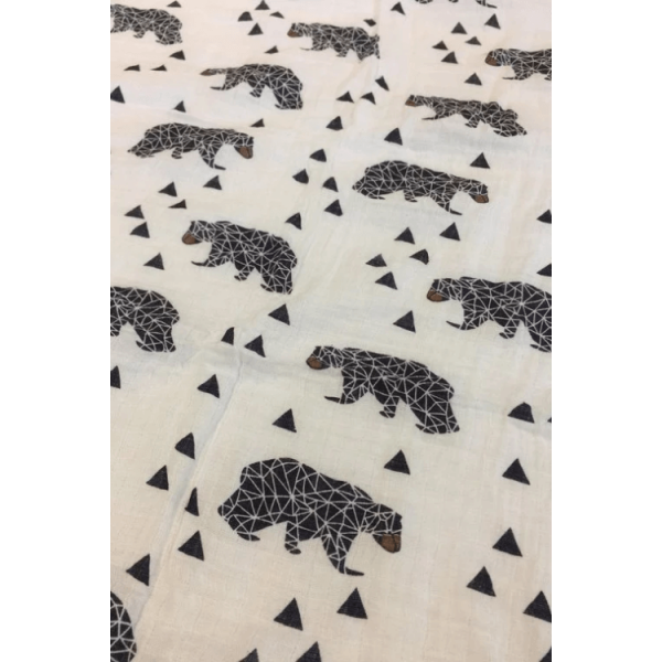 Organic cotton muslin swaddle blanket, bear