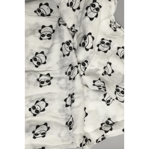 Organic cotton muslin swaddle blanket, panda