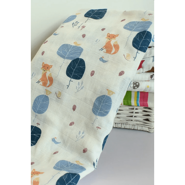 Organic cotton muslin swaddle blanket – fox