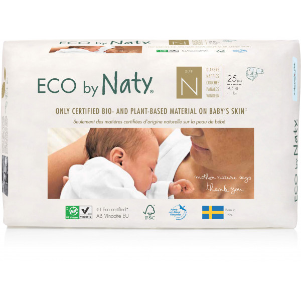 Eco by Naty® Size N Eco Nappies For Newborn Babies Up To 4,5kg, 25 pcs