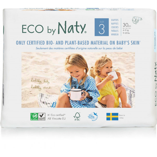 Eco by Naty® Size 3 Eco Nappies For Babies 4-9 Kg...