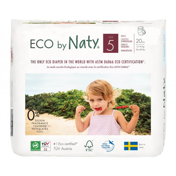 Naty  Size 5 ECO Pull On Pants, 20 Pants, 12-18 kg