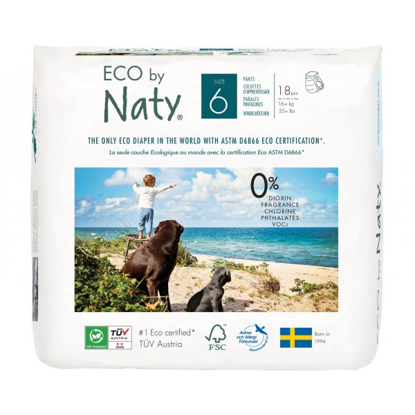Naty ECO Pull On Pants - Size 6, 18 Pants, 16+ kg