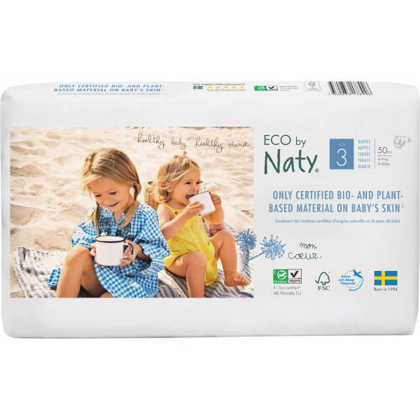 Naty® Size 3 Eco Nappies For Babies 4-9 Kg Economy Pack 50 Pcs