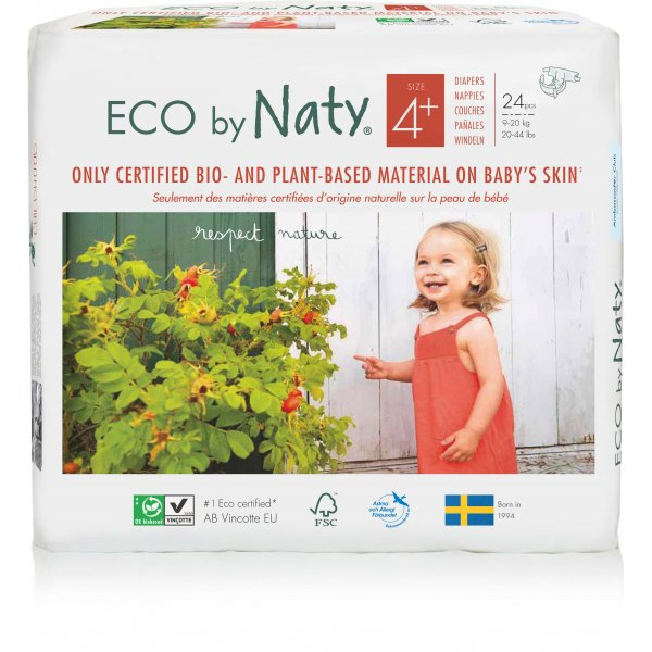 Naty® Plus Sizes 4 Eco Nappies For Babies 9-20 Kg 25 pcs