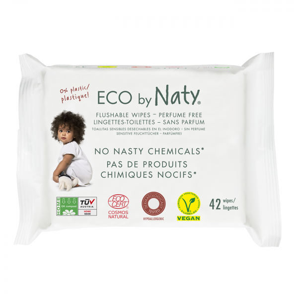 Naty Eco Wipes - Flushable, 42 pcs
