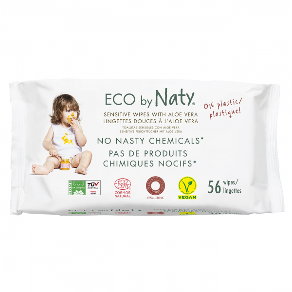 Naty sensitive wipes  with aloe, 56 pcs