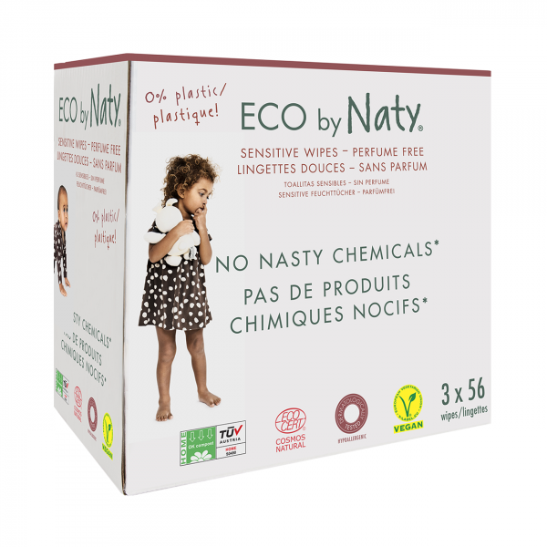 Naty unscented sensitive wipes triple pack (168 pc...