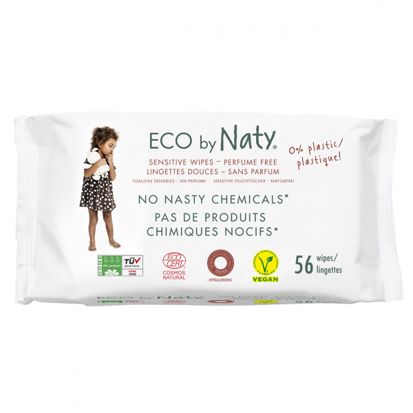 Naty unscented sensitive wipes, 56 pcs