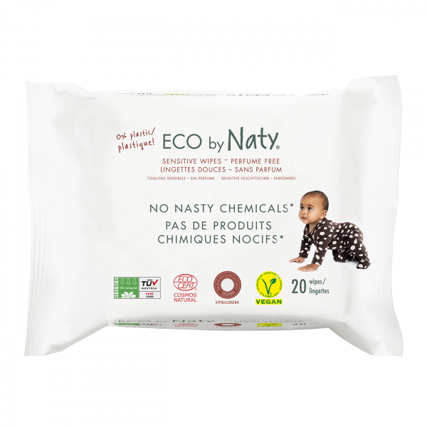 Naty unscented sensitive wipes travel pack (20 pcs...