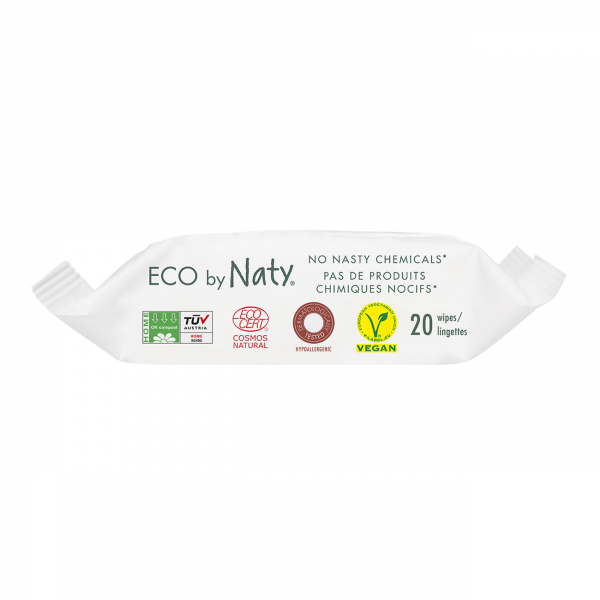 Naty unscented sensitive wipes travel pack (20 pcs)