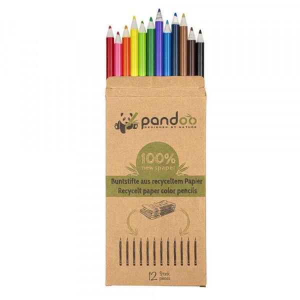 Újrahasznosított papírból készült ceruzák fekete vagy színes 12 db