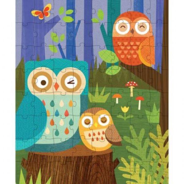 Tin canister Jigsaw floor puzzle, Owl Family, 64 pcs