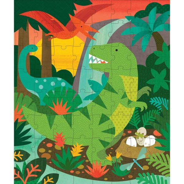 Tin canister Jigsaw floor puzzle, Dinosaurs, 64 pcs