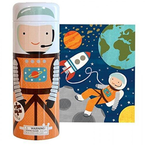 Tin canister Jigsaw floor puzzle, Into Space, 64 pcs