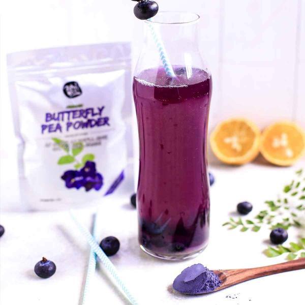 BUTTERFLY PEA TEA LILA POR   – 100% természetes, vegán ételfesték