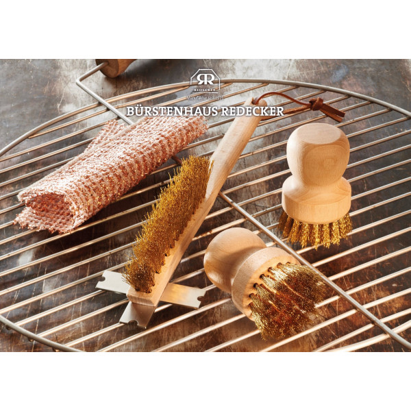BBQ grate brush with stainless steel scraper
