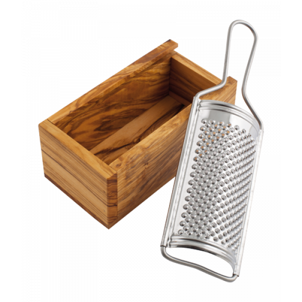 Cheese grater with olive wood collection cup