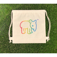 Tapirus drawstring bag for kids RAINBOW