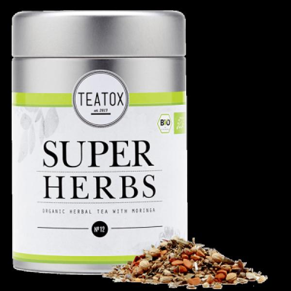 SUPER HERBS ORGANIC HERBAL TEA WITH MORINGA tin ca...