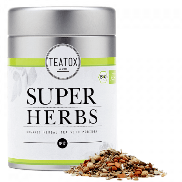 Super herbs energizing organic herbal tea, tin can...