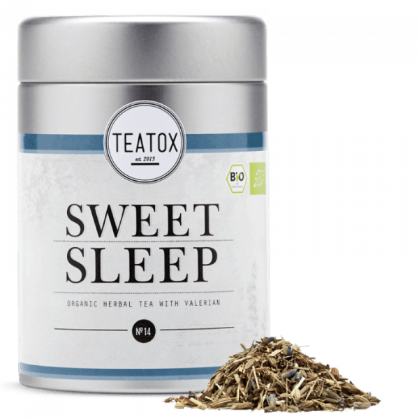 Sweet sleep organic herbal tea with valerian, tin ...