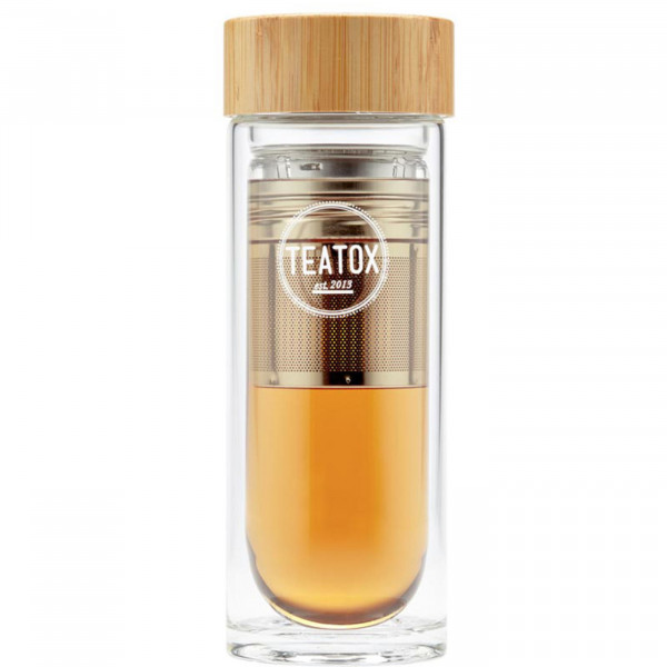 Thermo-go glass bottle with bamboo cup, 330 ml
