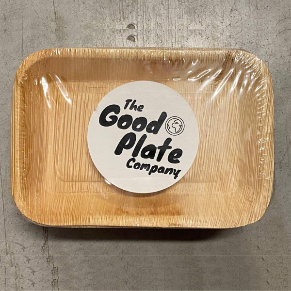 compostable palm leaf tray rectangle 25 pack