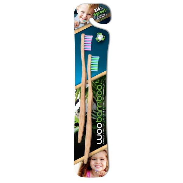 Woobamboo bambusz fogkefe gyerek, 2 db