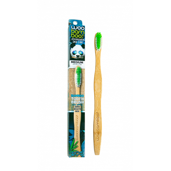 Woobamboo bamboo toothbrush adult medium in paper box 1 pc