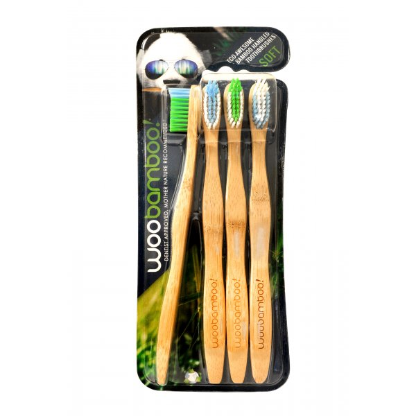 Woobamboo bamboo toothbrush adult (soft) - 4 pcs